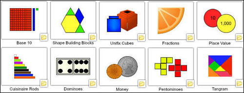 Images of virtual manipulative folders in the Wixie library
