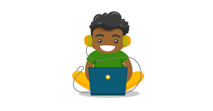 illustration of young gamer
