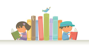 image of kids reading on each side of a shelf of books