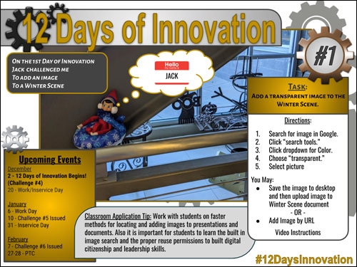 image of day one of the 12 day innovation challenge