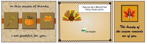 image of student-created Thanksgiving cards