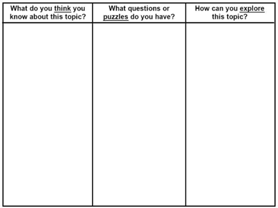 sample questions for think-puzzle-explore organizer