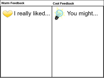 image of worksheet to guide student feedback using warm and cool