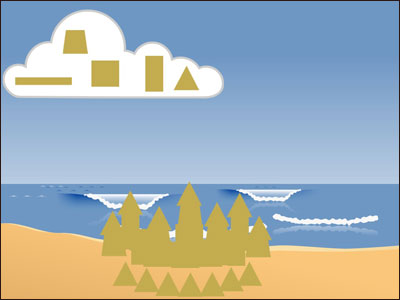 image of student-created sand castle digital activity in Wixie