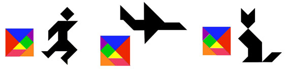 images of sample tangram puzzles