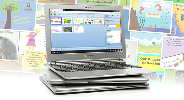 Wixie on a stack of Chromebooks